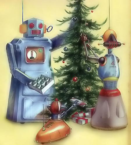 12 naujametinių robotų