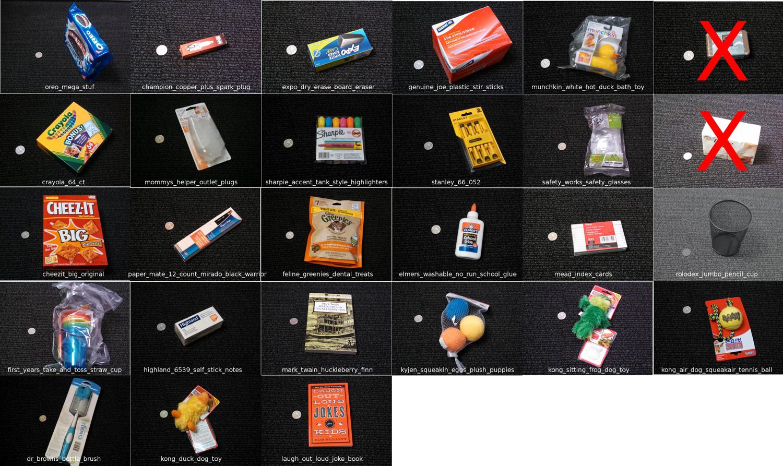 25 objektai, kuriuos robotai turės paimti ir supakuoti. /Amazon iliustracija.