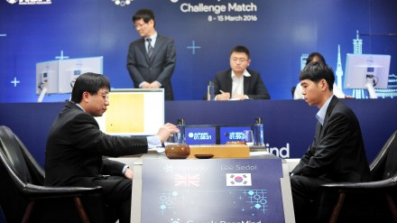 Go player Lee Sedol (R) looks on after putting the first stone against Google's artificial intelligence program AlphaGo as Google DeepMind's lead programmer Aja Huang (L) prepares for the first stone during the Google DeepMind Challenge Match in Seoul, South Korea, in this handout picture provided by Korea Baduk Assosication and released by News1 on March 9, 2016.  REUTERS/Korea Baduk Association/News1ATTENTION EDITORS - FOR EDITORIAL USE ONLY. NOT FOR SALE FOR MARKETING OR ADVERTISING CAMPAIGNS. THIS IMAGE HAS BEEN SUPPLIED BY A THIRD PARTY. IT IS DISTRIBUTED, EXACTLY AS RECEIVED BY REUTERS, AS A SERVICE TO CLIENTS. SOUTH KOREA OUT. NO COMMERCIAL OR EDITORIAL SALES IN SOUTH KOREA. NO RESALES. NO ARCHIVE. - RTS9Y6X